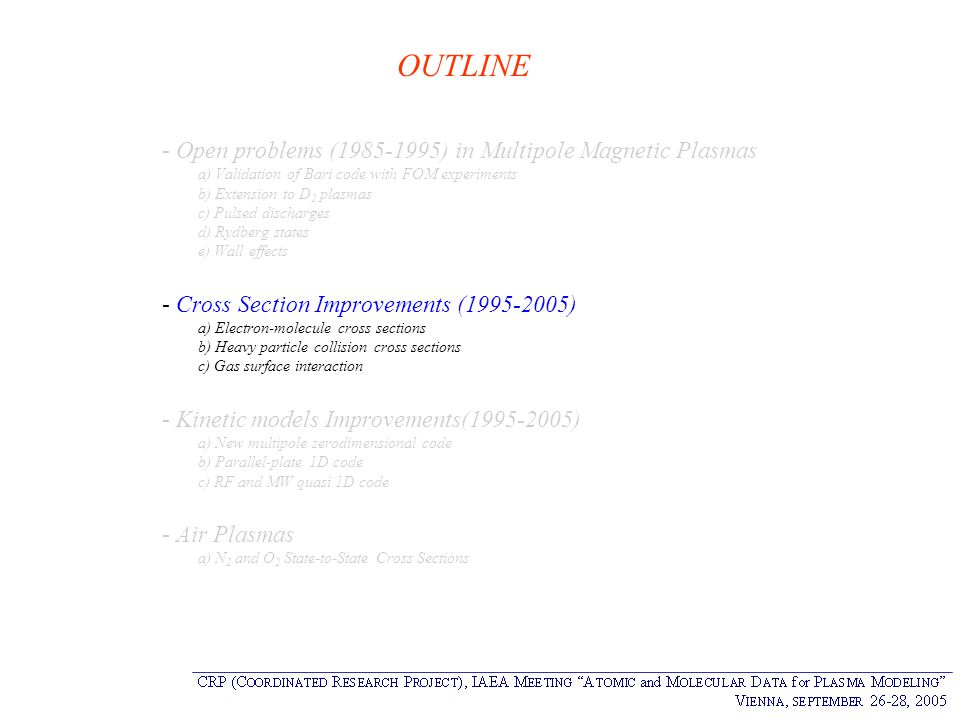 OUTLINE - Open problems (1985-1995) in Multipole Magnetic Plasmas