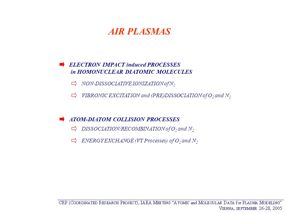 AIR PLASMAS ELECTRON IMPACT induced PROCESSES