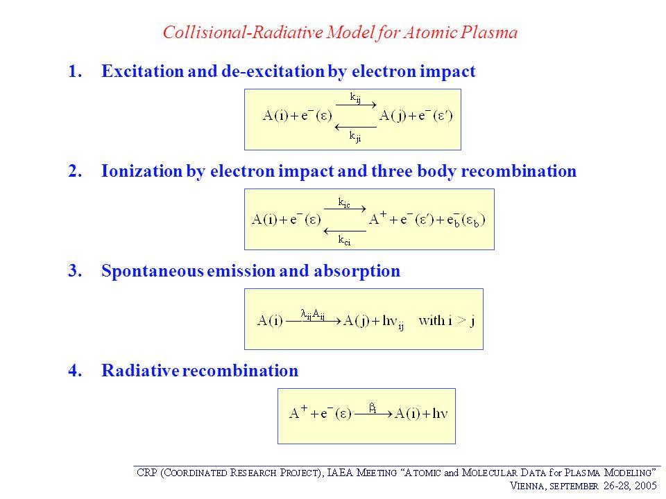 Collisional-Radiative Model for Atomic Plasma