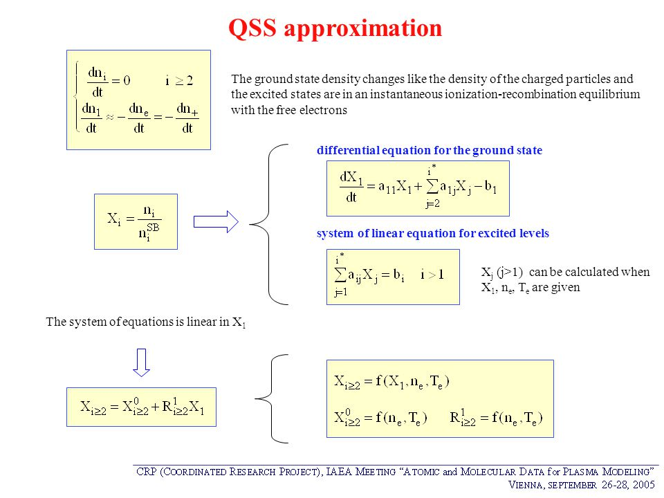 QSS approximation The ground state density changes like the density of the charged particles and.