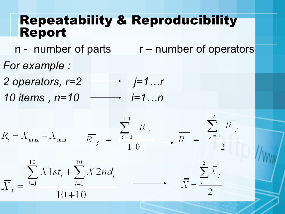 Repeatability & Reproducibility Report