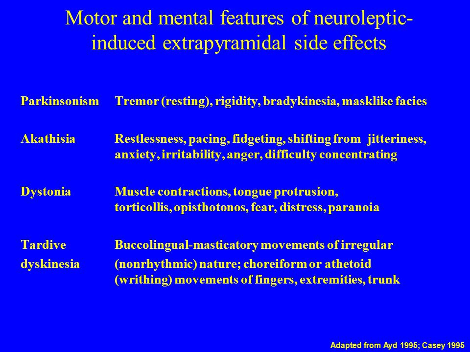 Motor and mental features of neuroleptic-induced extrapyramidal side effects