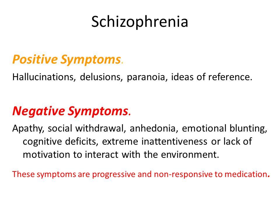 Schizophrenia Positive Symptoms. Negative Symptoms.