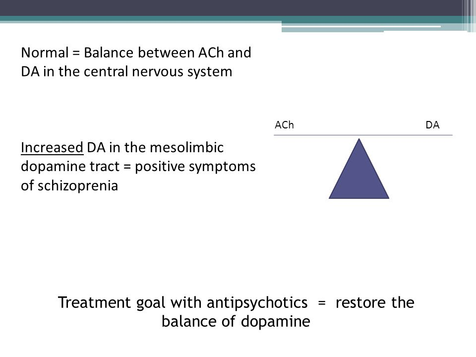 Normal = Balance between ACh and DA in the central nervous system
