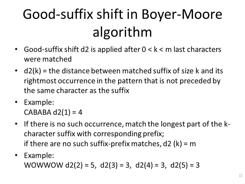 Good-suffix shift in Boyer-Moore algorithm