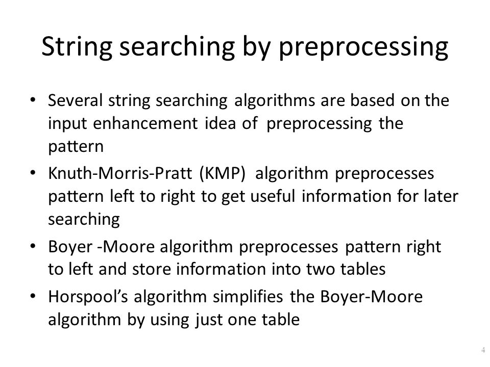String searching by preprocessing