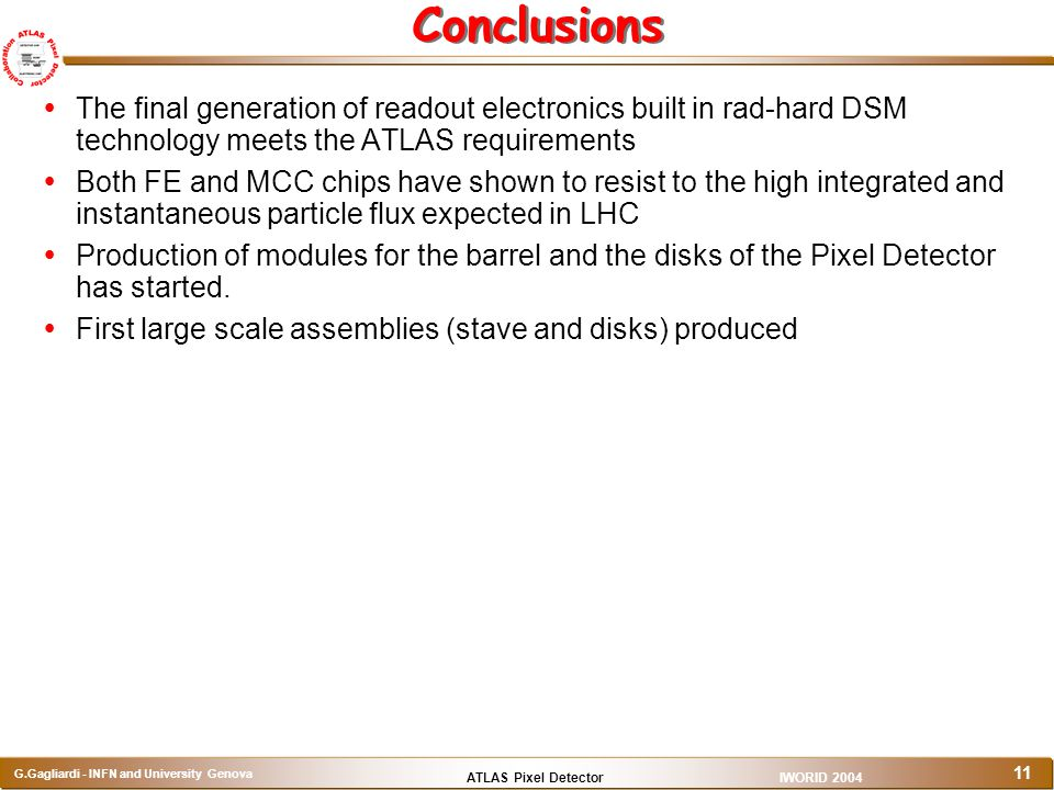 Conclusions The final generation of readout electronics built in rad-hard DSM technology meets the ATLAS requirements.