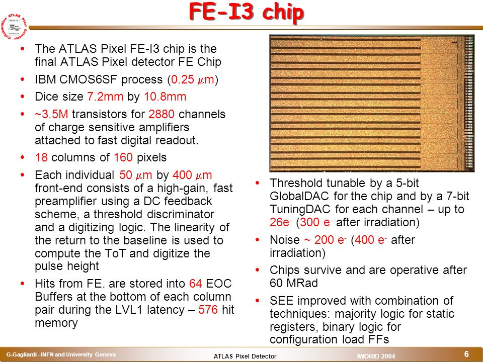 FE-I3 chip The ATLAS Pixel FE-I3 chip is the final ATLAS Pixel detector FE Chip. IBM CMOS6SF process (0.25 mm)