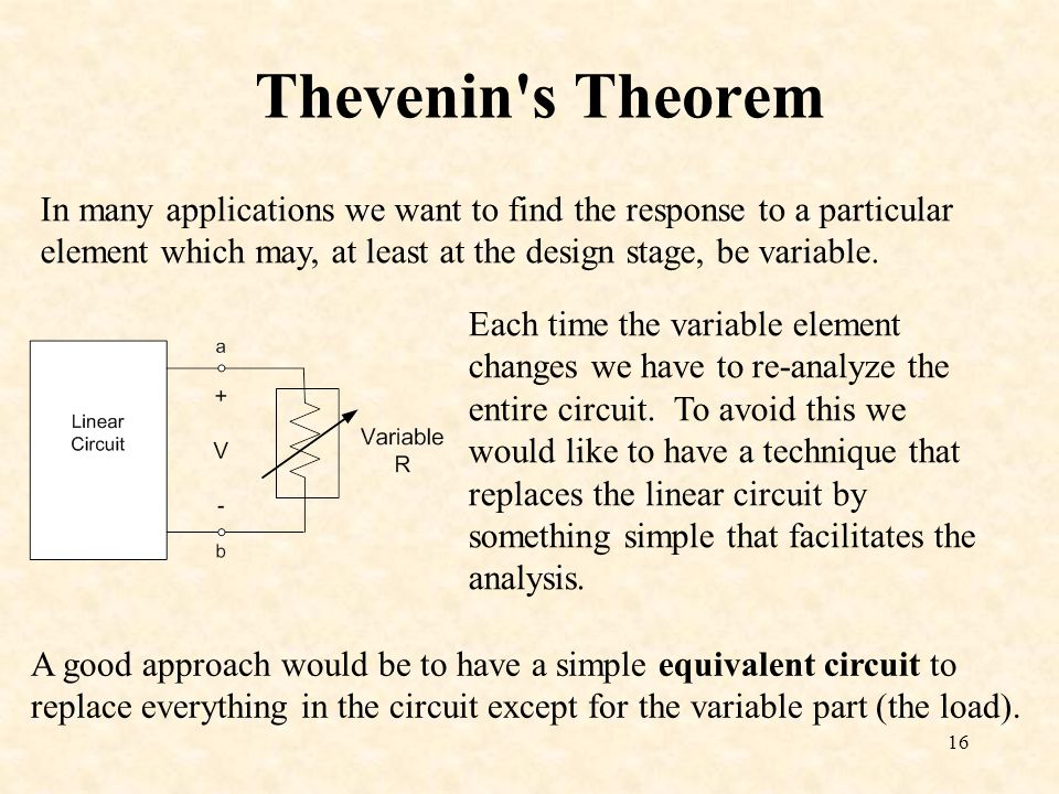Thevenin s Theorem In many applications we want to find the response to a particular element which may, at least at the design stage, be variable.