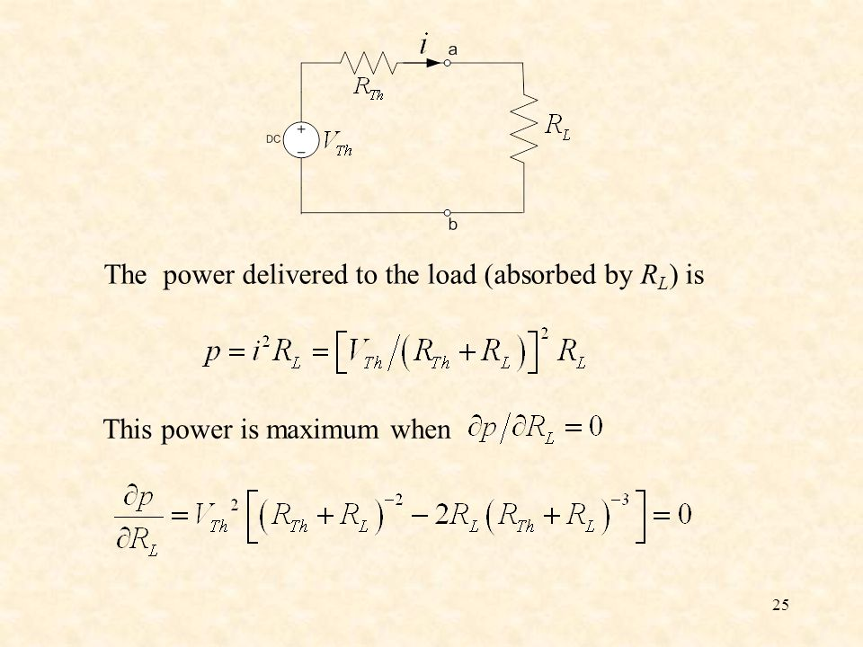 The power delivered to the load (absorbed by RL) is