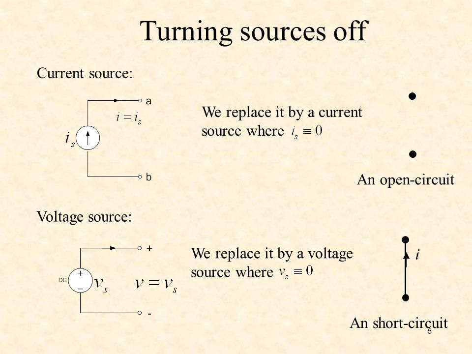 Turning sources off Current source: