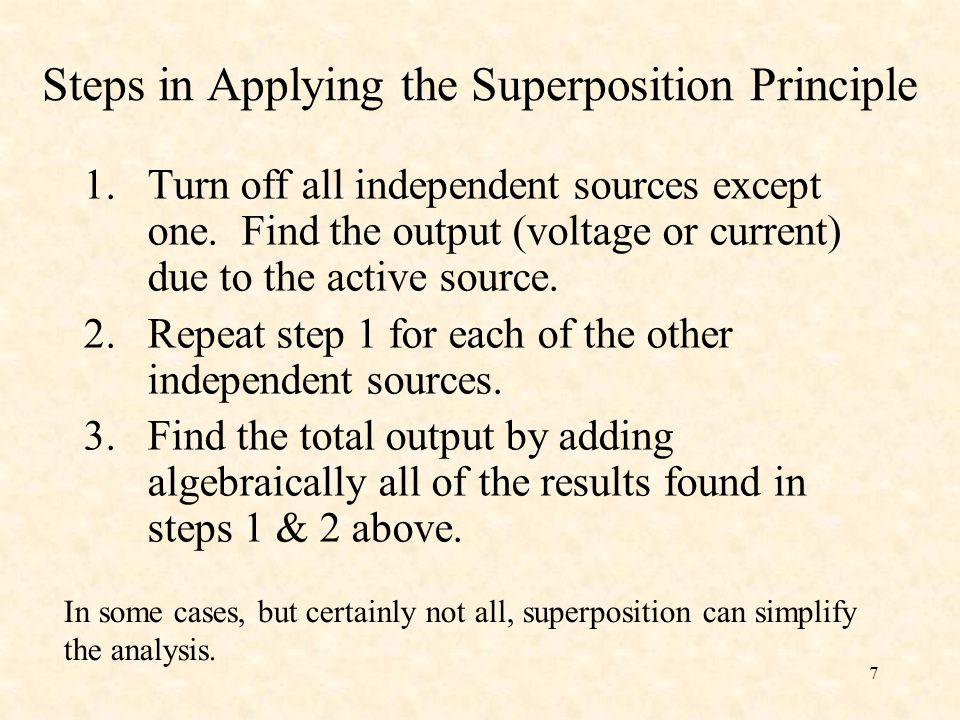 Steps in Applying the Superposition Principle