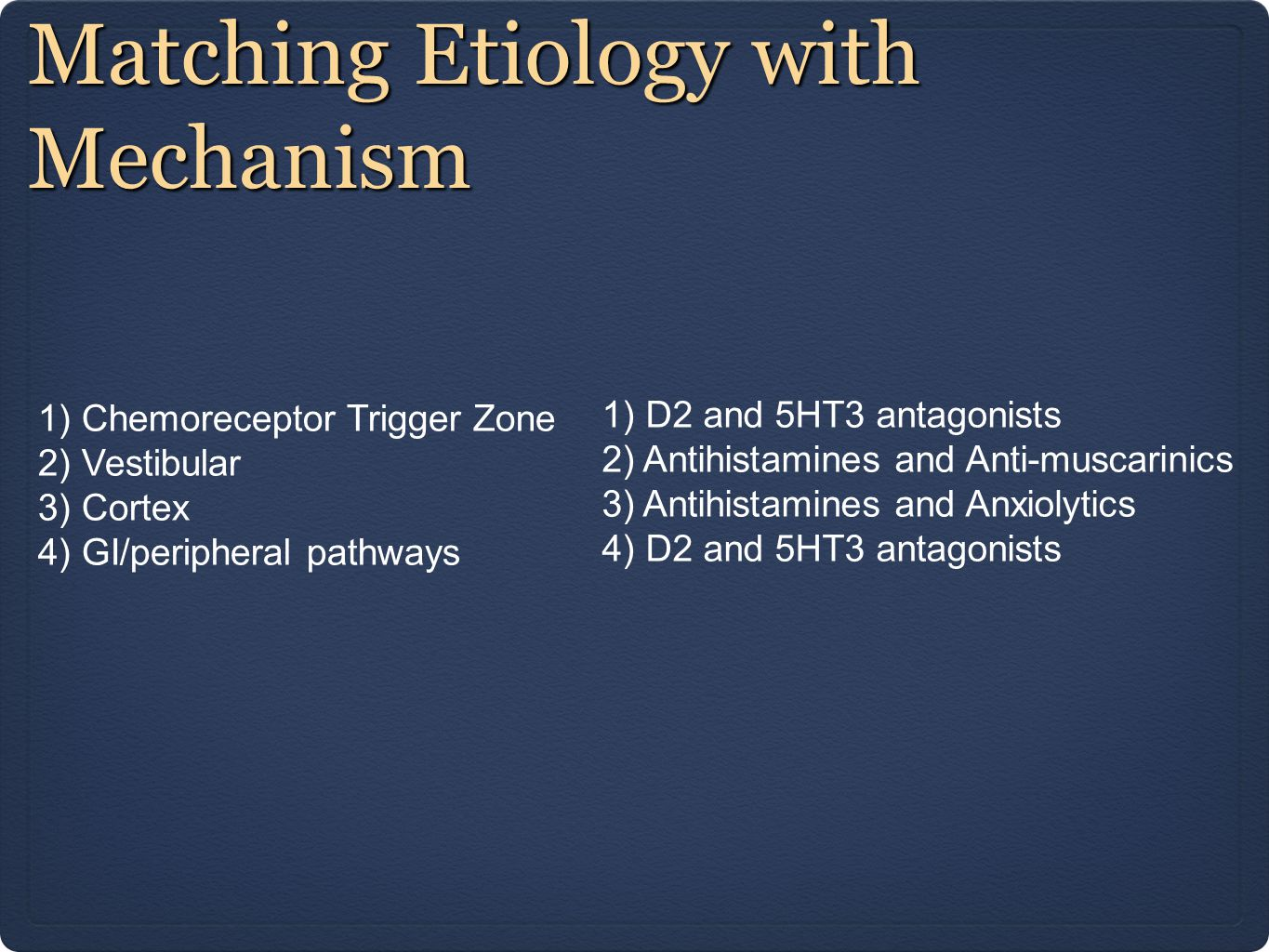 Matching Etiology with Mechanism