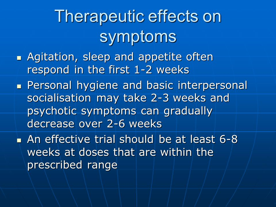 Therapeutic effects on symptoms