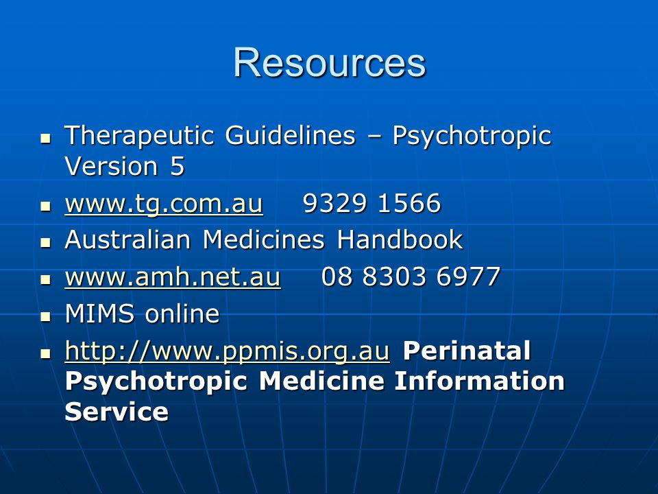 Resources Therapeutic Guidelines – Psychotropic Version 5