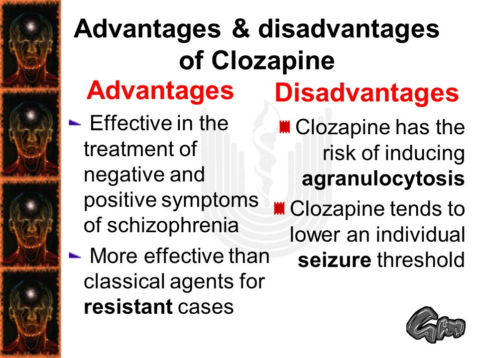 Advantages & disadvantages of Clozapine