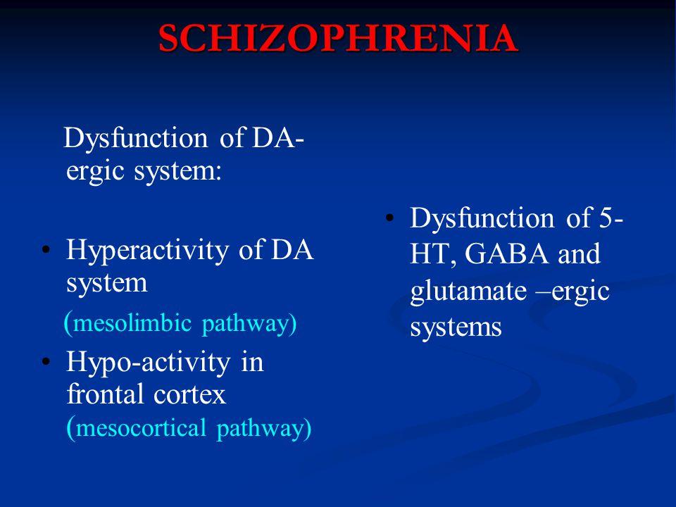 SCHIZOPHRENIA Dysfunction of DA-ergic system: