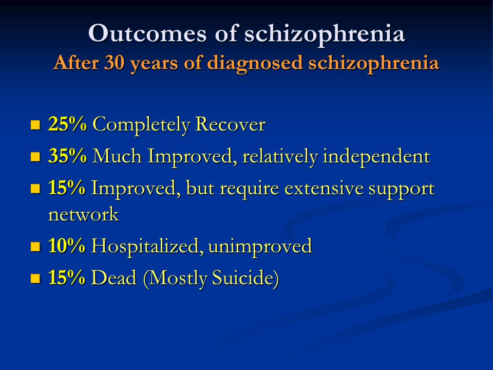 Outcomes of schizophrenia After 30 years of diagnosed schizophrenia
