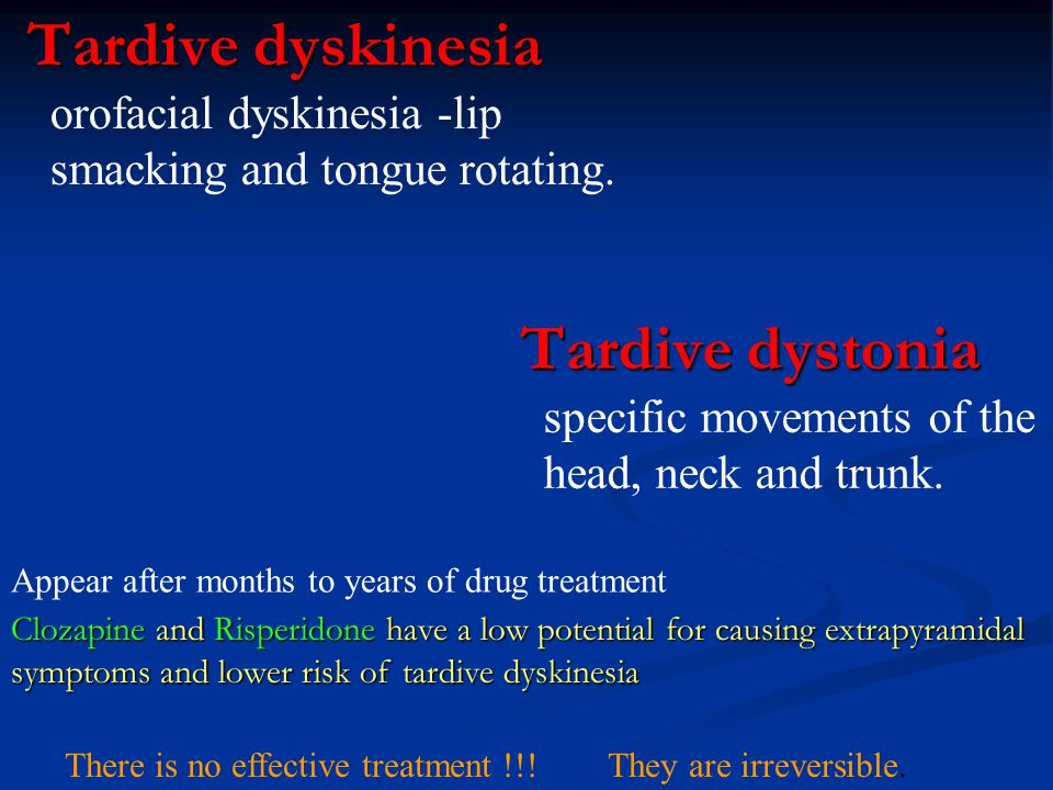 Tardive dystonia specific movements of the head, neck and trunk.