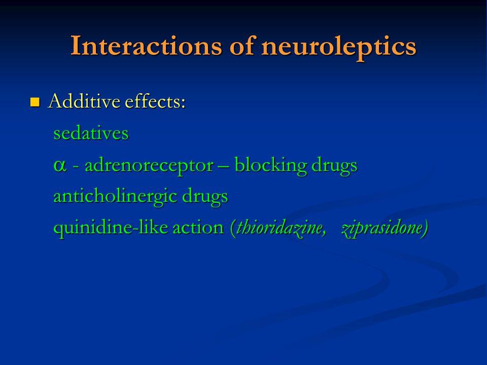 Interactions of neuroleptics