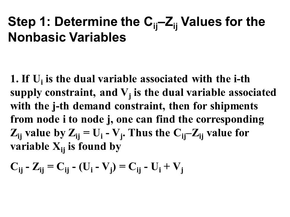 Step 1: Determine the Cij–Zij Values for the Nonbasic Variables