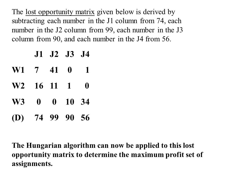 The lost opportunity matrix given below is derived by subtracting each number in the J1 column from 74, each number in the J2 column from 99, each number in the J3 column from 90, and each number in the J4 from 56.