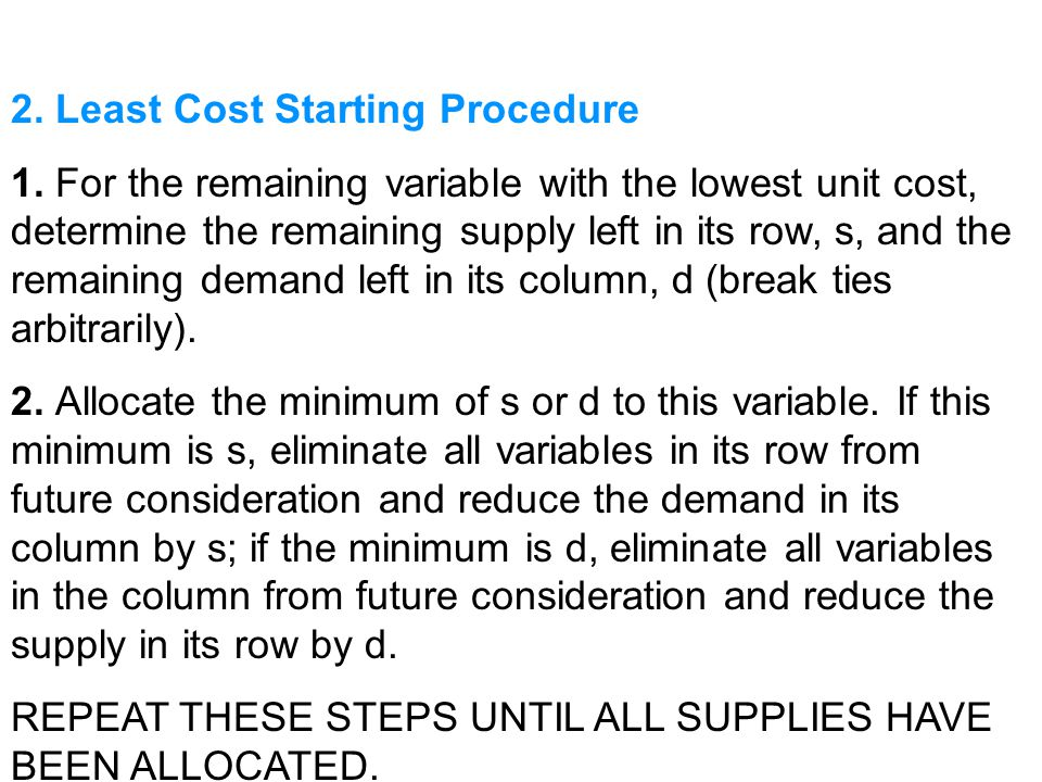 2. Least Cost Starting Procedure