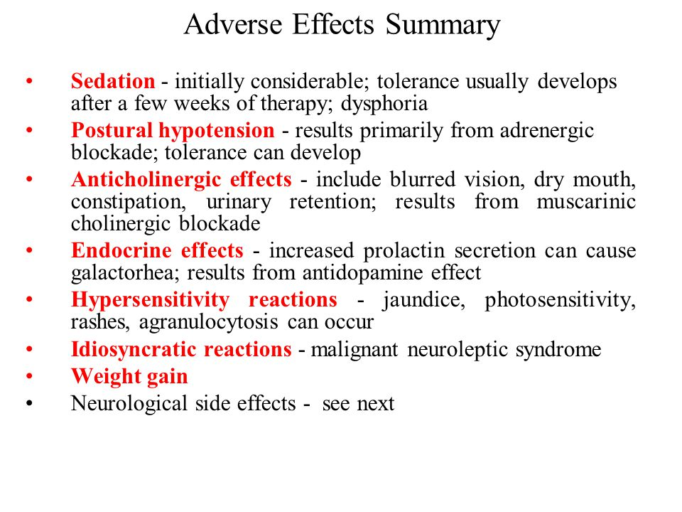 Adverse Effects Summary