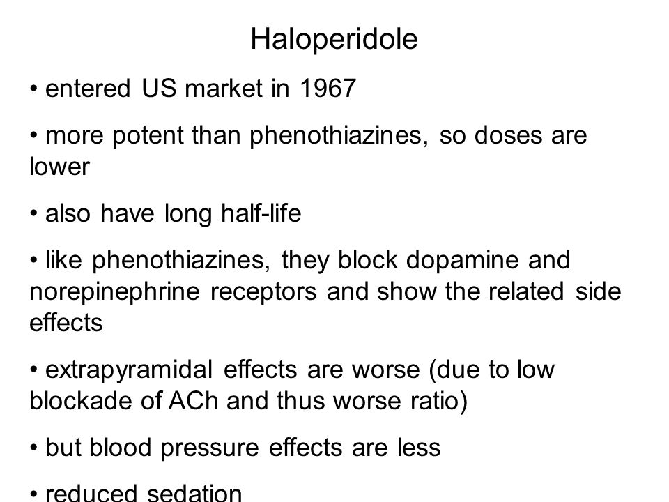 Haloperidole entered US market in 1967