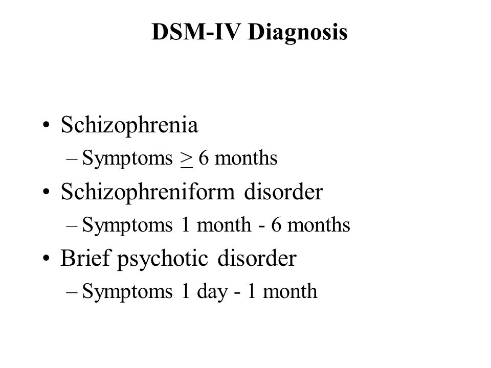 Schizophreniform disorder Brief psychotic disorder