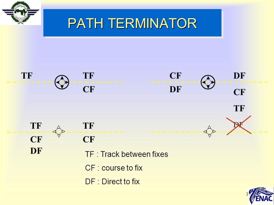 PATH TERMINATOR TF TF CF DF CF TF TF CF DF DF TF : Track between fixes