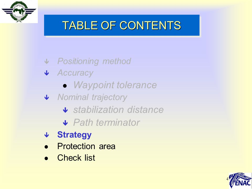 TABLE OF CONTENTS Waypoint tolerance stabilization distance