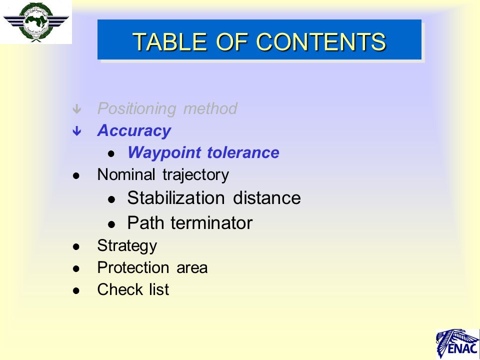 TABLE OF CONTENTS Stabilization distance Path terminator