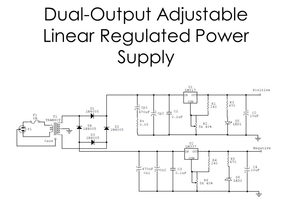 Dual-Output Adjustable Linear Regulated Power Supply