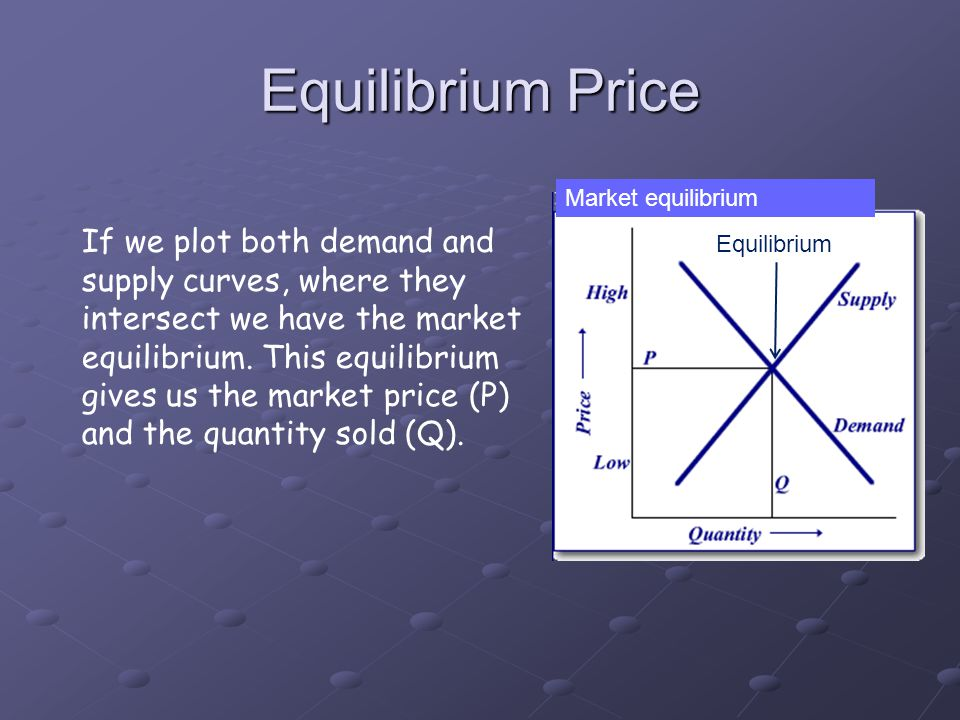 Equilibrium Price If we plot both demand and supply curves, where they