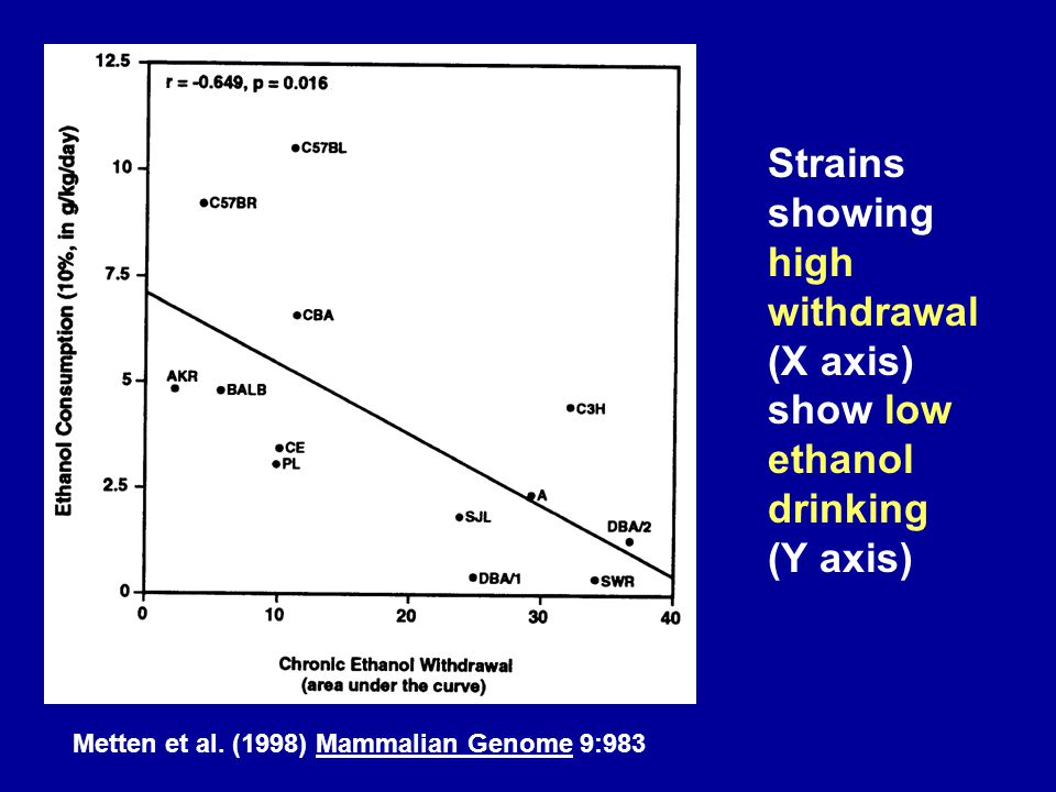 Strains showing high withdrawal (X axis) show low ethanol drinking (Y axis)