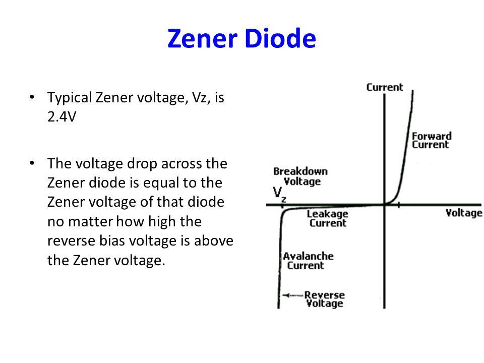 Zener Diode Typical Zener voltage, Vz, is 2.4V