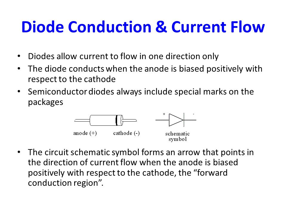http://slideplayer.com/3425829/12/images/2/Diode+Conduction+%26+Current+Flow.jpg Diode Symbol Current Flow