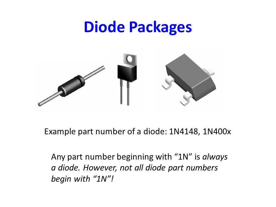 Diode Packages Example part number of a diode: 1N4148, 1N400x