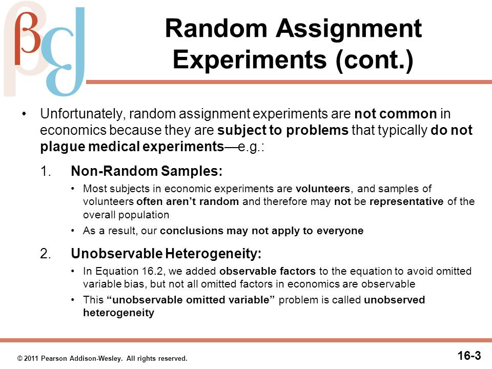 Random Assignment Experiments (cont.)