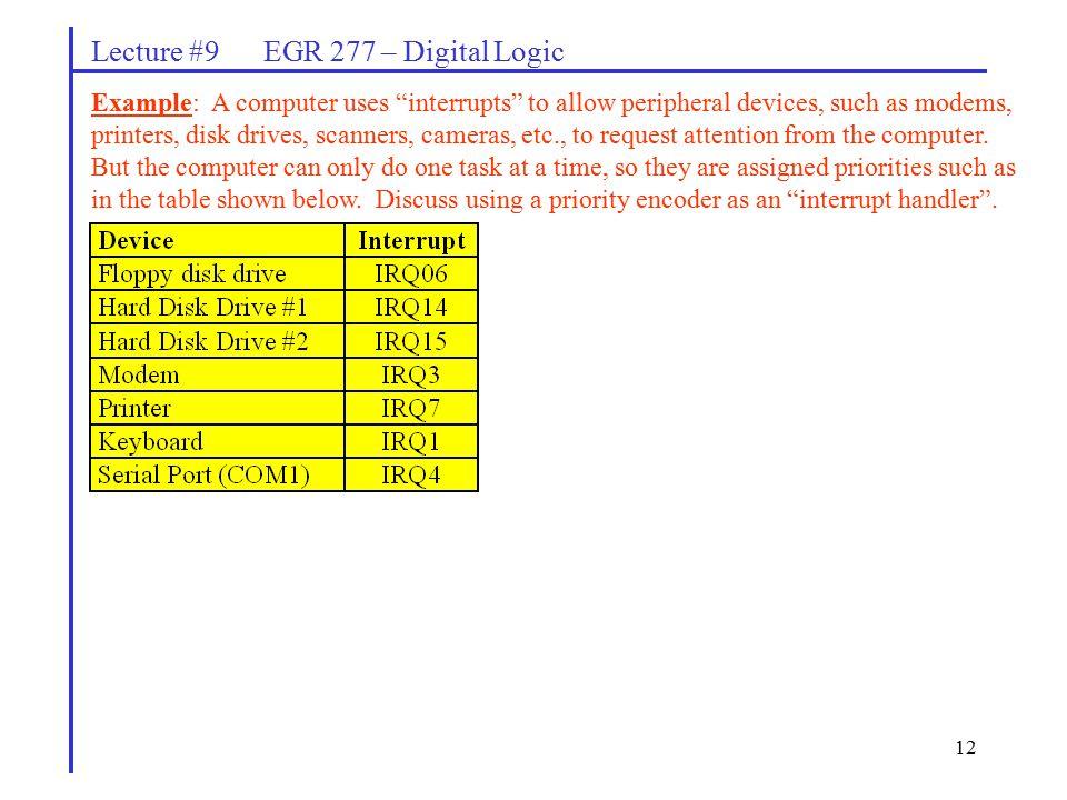 Lecture #9 EGR 277 – Digital Logic