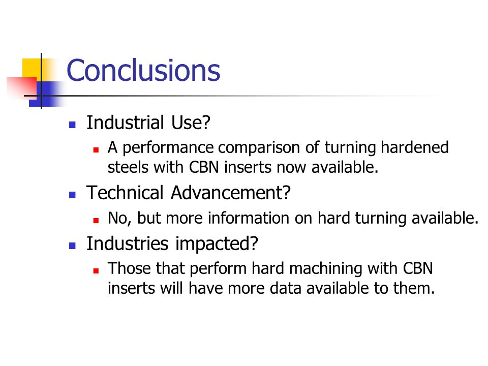 Conclusions Industrial Use Technical Advancement