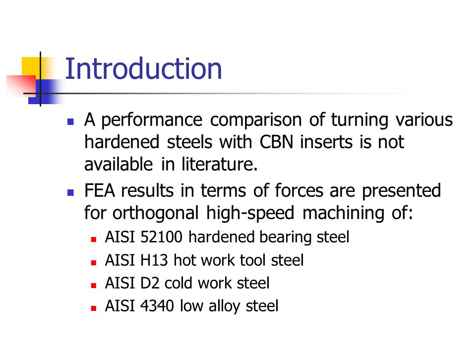 Introduction A performance comparison of turning various hardened steels with CBN inserts is not available in literature.