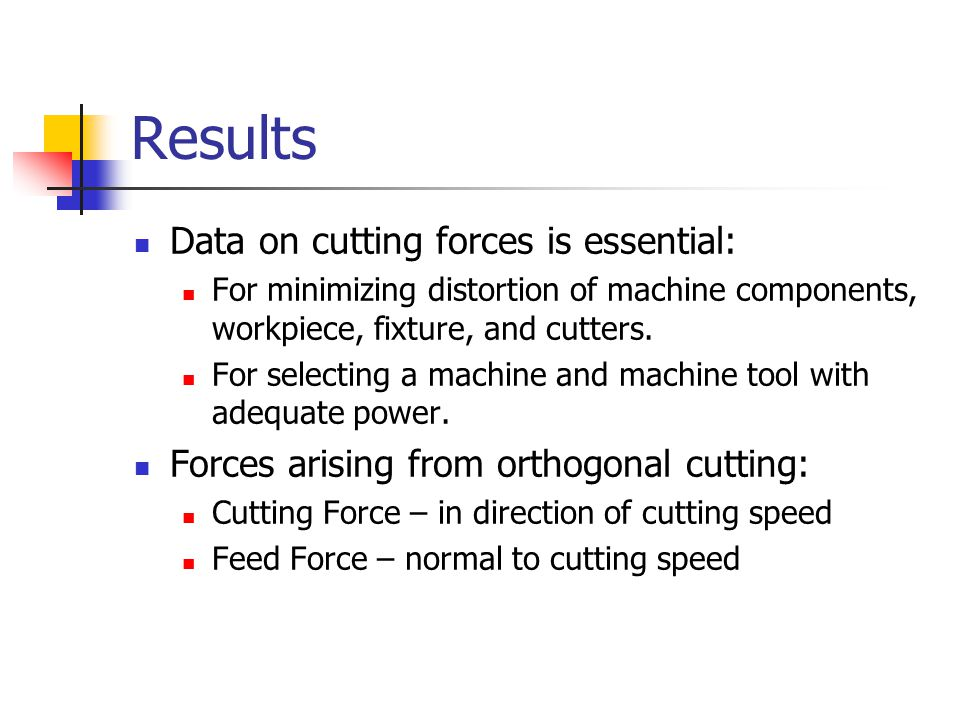 Results Data on cutting forces is essential: