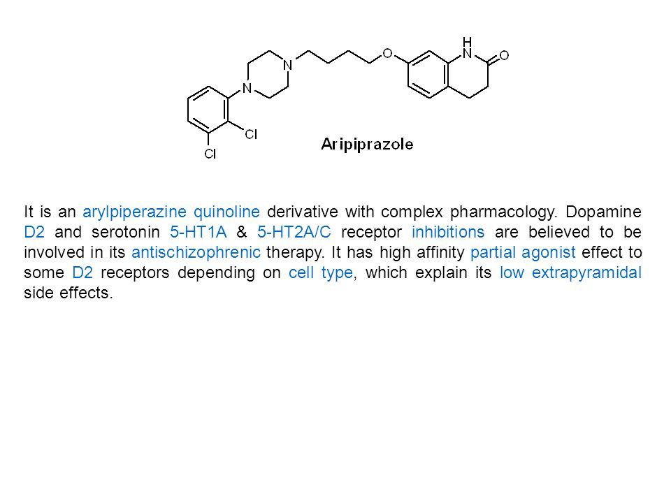 It is an arylpiperazine quinoline derivative with complex pharmacology
