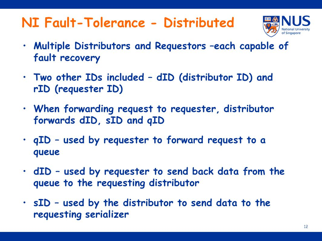 NI Fault-Tolerance - Distributed