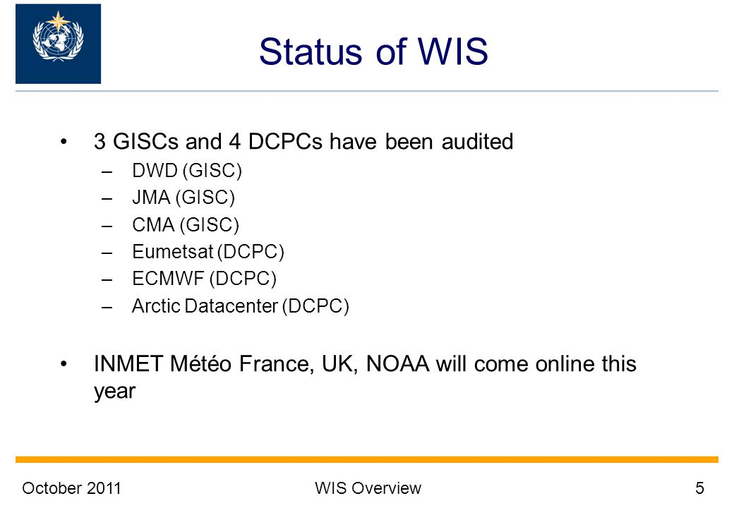 Status of WIS 3 GISCs and 4 DCPCs have been audited