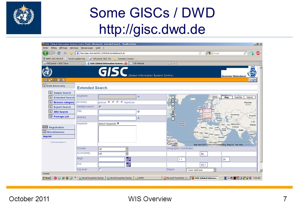 Some GISCs / DWD http://gisc.dwd.de