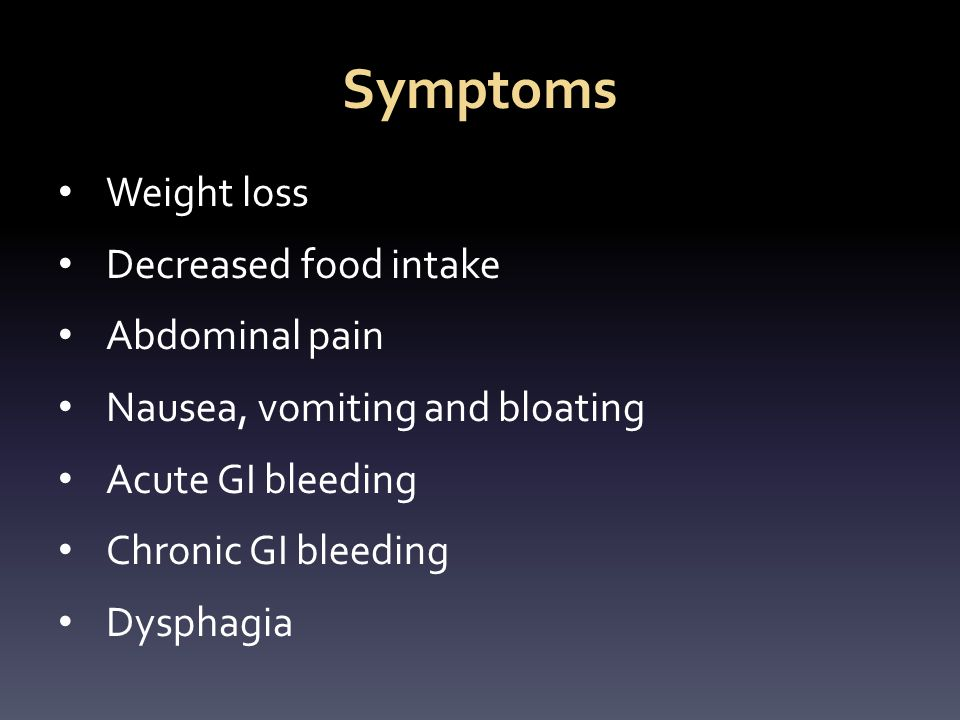 Symptoms Weight loss Decreased food intake Abdominal pain