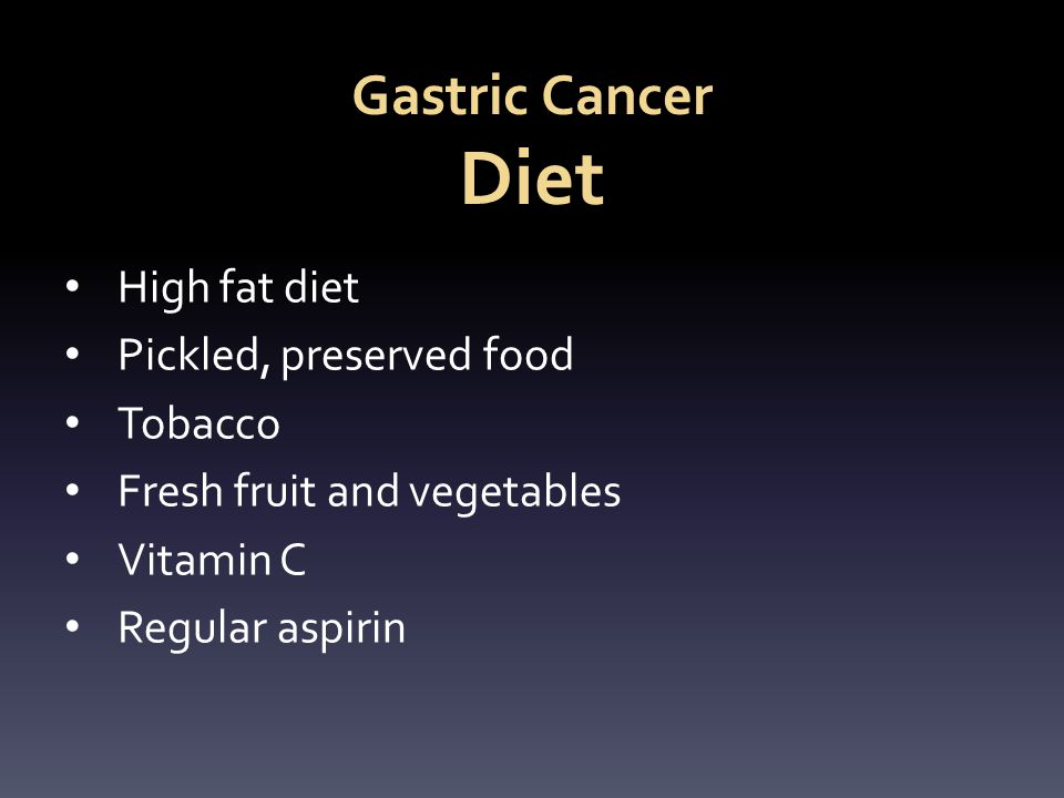 Gastric Cancer Diet High fat diet Pickled, preserved food Tobacco